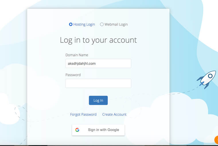 screenshot of a login form
