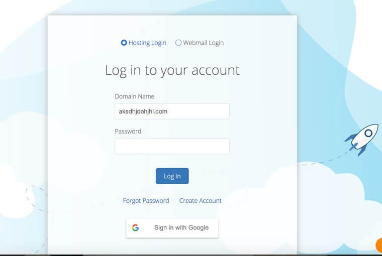 screenshot of a login form