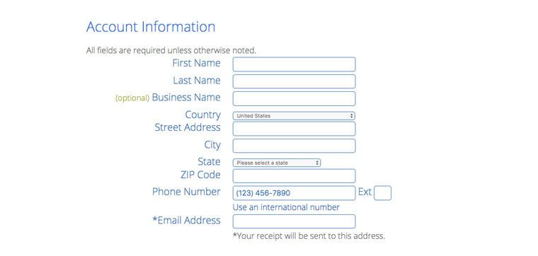 Screenshot of a form with account information details like first name, last name, country, city, zip code and email address