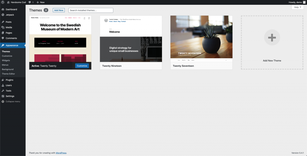 Screenshot showing default WordPress themes that are avilalble upon default installation process
