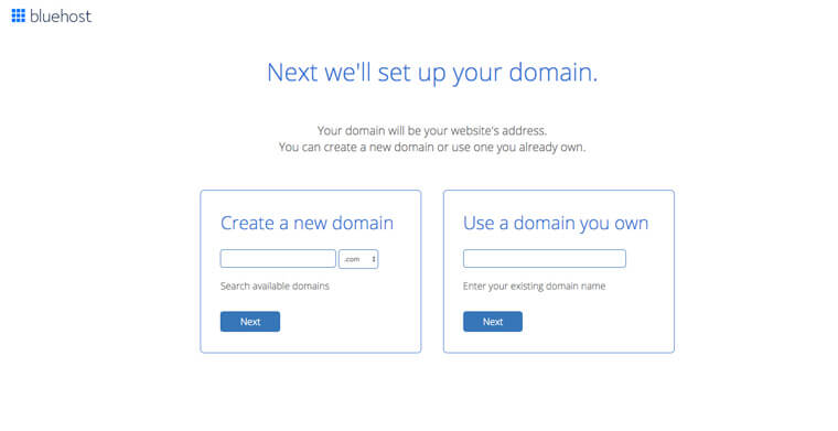 Screenshot of a form with an option to create a new domain