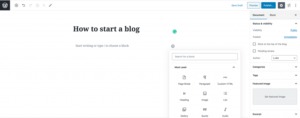 Screenshot of a gutenberg editor showing post with 'How to start a blog' in the title.