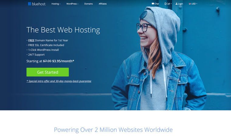 Screenshot of Bluehost homepage