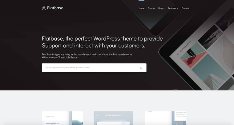 Screenshot showing Flatbase theme homepage