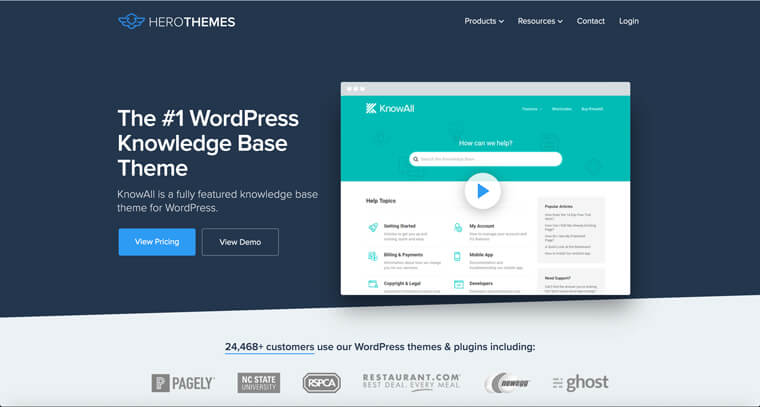 Screenshot of KnowAll theme that is the most popular theme in our WordPress Knowledge Base themes comparison
