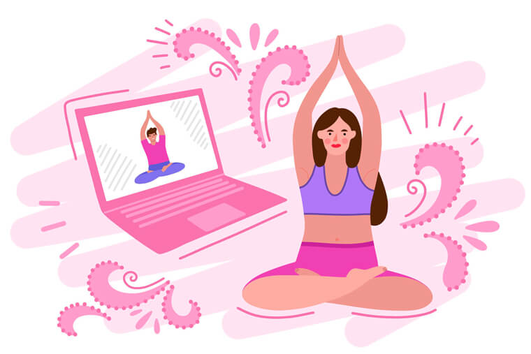 illustration showing woman doing yoga class in front of her computer