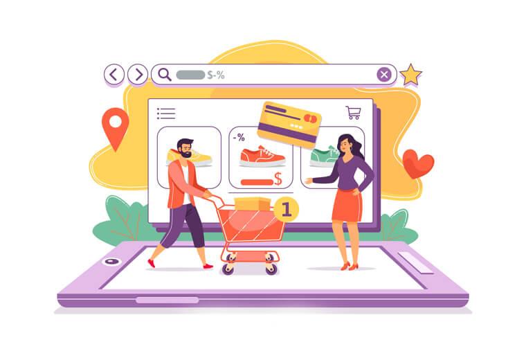 illustation of an online shop concept.